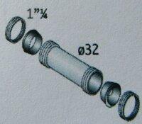 Ms Doppelmuffe verchr. Ø  32 mm mit 2 Muttern und 2 Dichtungen