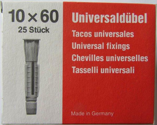 Universaldübel mit Kragen   10  x 60 mm   Pack mit 25 Stück
