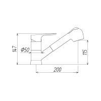 Spültischbatterie DN 15, mit schwenkbarem Auslauf  und herausziehbarer Handbrause, manuelle Umstellung Luftsprudler / Brausestrahl