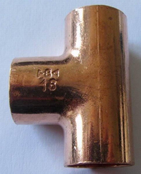 Kupfer Lötfitting  T-Stück  gleiche  Ausgänge                5130   DVGW