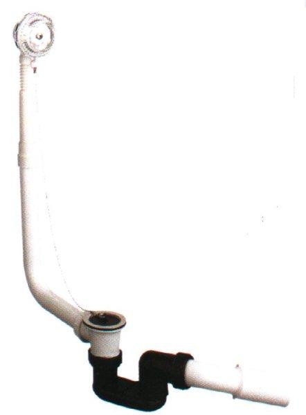 Wannen- Ab- und Überlaufgarnitur aus PP, einfache Ausführung mit Geruchsverschluss und 45° Ablaufbogen, und Stopfen